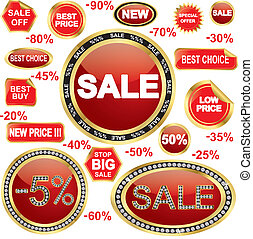 Sale stickers and labels set, golde