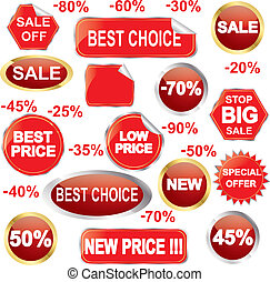 Sale stickers and labels set, vecto