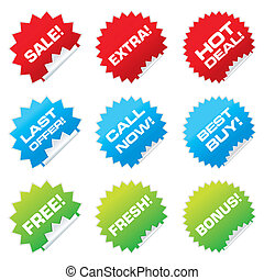 sale stickers - Set of colorful vector sale stickers and...