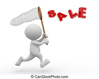 """Sale - 3d people - man, person with butterfly net and word """"..."""