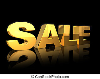 Sale - 3D golden SALE letters