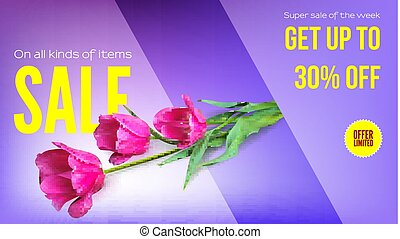 Sale, summer sale, get your discount. Horizontal ad with a bouquet of tulips on a colored background. Template for shopping, advertising, percentage of discounts