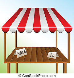 Sale table with stripped awning - Wooden Sale table with red...