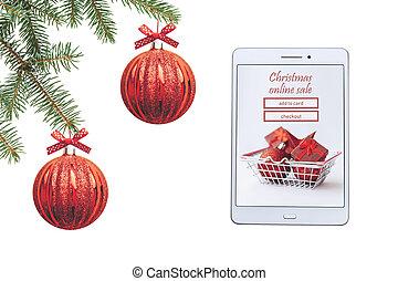 sale., tabliczka, dary, tło, online, białe boże narodzenie, kupno