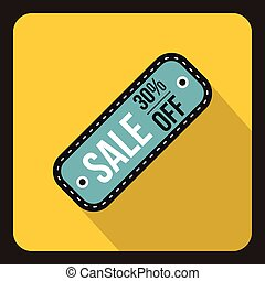Sale tag 30 percent off icon, flat style