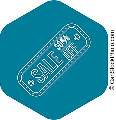 Sale tag 30 percent off icon, outline style