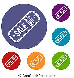 Sale tag 30 percent off icons set