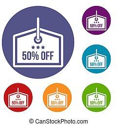 Sale tag 50 percent off icons set