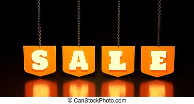 Sale tag hanging from chain
