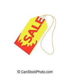 Sale tag icon, cartoon style