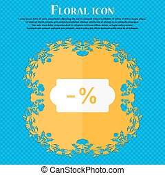 SALE tag icon. Floral flat design on a blue abstract background with place for your text. Vector