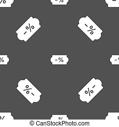 SALE tag icon sign. Seamless pattern on a gray background. Vector