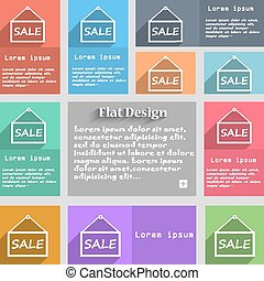 SALE tag icon sign. Set of multicolored buttons. Metro style with space for text. The Long Shadow Vector