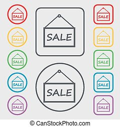SALE tag icon sign. symbol on the Round and square buttons with frame. Vector