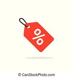 Sale tag icon vector, flat cartoon discount label red colored on rope, clearance symbol, special deal clearance sale tab isolated clipart