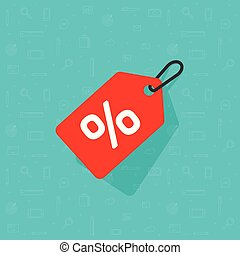Sale tag icon vector, flat cartoon discount label red colored on rope with shadow, clearance symbol, special deal clearance sale tab isolated on blue background clipart