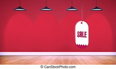 Sale tag in a string - Digitally generated animation of sale...