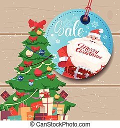 Sale Tag Marry Christmas Concept Shopping Poster Background...