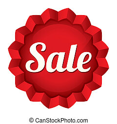 Sale tag. Red round star sticker.