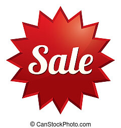 Sale tag. Red sticker. Icon for special offer.