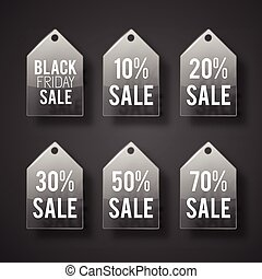 Sale Tag Set In Glass Style
