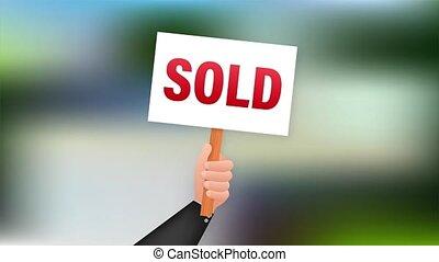Sale tag. Sold sign for marketing design. stock illustration