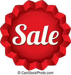 Sale tag. Vector red round star sticker.
