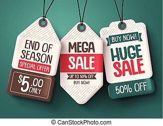 Sale tag vector set. Paper price tags with discount sale text