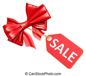 Sale tag with red bow, 3D rendering