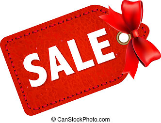 Sale Tag With Red Ribbon