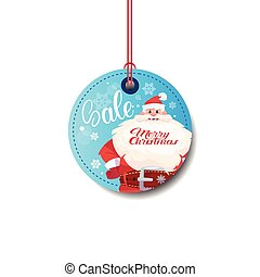 Sale Tag With Santa Merry Christmas Sticker Isolated On White Background
