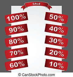 Sale tags - Metallic sale tags showing different degrees of...