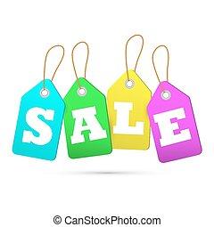 Sale tags. Concept of discount shop