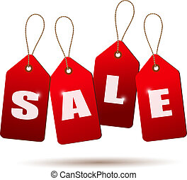 Sale tags. Concept of discount shopping. Vector.