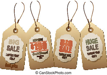 Sale tags. Concept of discount shopping.
