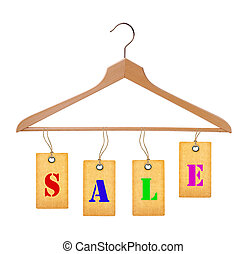 Sale tags on wooden clothes hanger isolated on white background