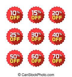 Sale tags set vector badges template, 10 off, 15, 20, 25, 30, 40, 50, 60, 70 percent sale label symbols, discount promotion flat icon long shadow, clearance sale sticker emblem red rosette