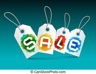 Sale Tags Set - Vector Labels with Splashes