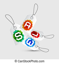 Sale Tags - Stickers with Rope and Colorful Splashes