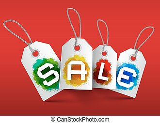 Sale Tags. Vector Business Labels with Strings and Colorful Splashes on Red Background.