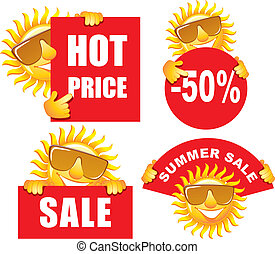Sale tags with a sun