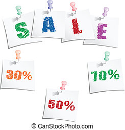 Sale tags with push pin