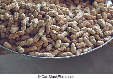 sale., tas, coquille, plateau, cacahuètes