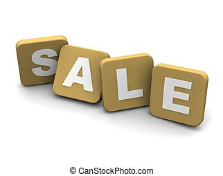 Sale text. 3d rendered illustration isolated on white.
