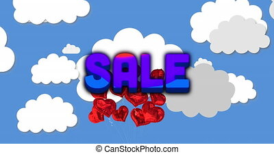 Animation of Sale text against red heart balloons with clouds on blue background. Happy Valentines Day Sale celebration concept digitally generated image.