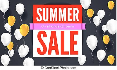 Sale text banner. Ready to print and use in advertising of products. Selling background with flying colorful inflatable balloons. Ad poster for shops with sale on all kinds of items. 3D illustration