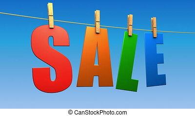 Sale Text (Loop) - Sale letters hanging. Seamless loop.