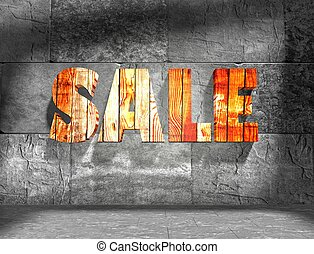 Sale text on concrete wall