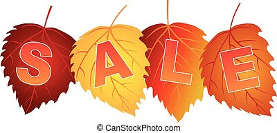 Sale Text on Fall Colors Birch Leaves