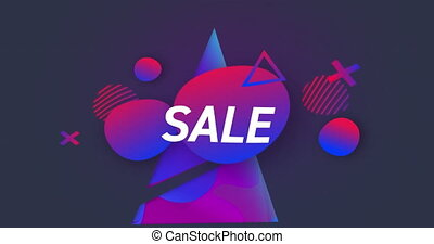 Sale text on geometrical shapes against blue background